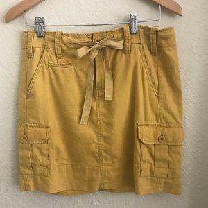 Anthropologie Paper Boy Linen Mustard Yellow Skirt